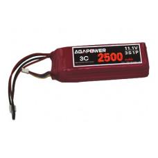 Аккумулятор AGA POWER Li-Po 2500mAh 11.1V 3S 3C 27x30x96мм для передатчиков